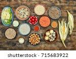 assorted raw indian cuisine on... | Shutterstock . vector #715683922