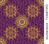 vintage pattern on purple... | Shutterstock .eps vector #715687492