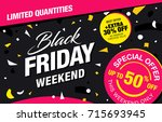 black friday sale banner layout | Shutterstock .eps vector #715693945