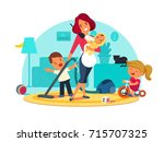 busy mother feeds child | Shutterstock .eps vector #715707325