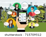 social network web site surfing ... | Shutterstock .eps vector #715709512