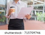modern business woman look at... | Shutterstock . vector #715709746