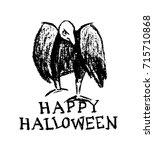vector halloween greeting card. ... | Shutterstock .eps vector #715710868