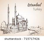 istanbul ortakoy mosque. turkey.... | Shutterstock .eps vector #715717426