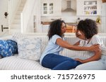 mother talking with unhappy... | Shutterstock . vector #715726975
