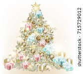 christmas tree decorated by... | Shutterstock .eps vector #715729012