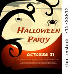 halloween party background with ... | Shutterstock .eps vector #715733812