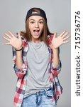 excited of joy. teen girl... | Shutterstock . vector #715736776