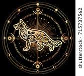 vector dog zodiac esoteric... | Shutterstock .eps vector #715737562