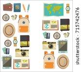 flat vector web banners set on... | Shutterstock .eps vector #715742476