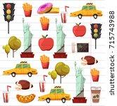 new york set vector pattern... | Shutterstock .eps vector #715743988