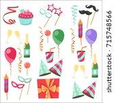 flat vector icons celebration...   Shutterstock .eps vector #715748566