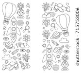 vector set of doodle icons... | Shutterstock .eps vector #715753006