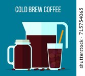 cold brew coffee illustration.... | Shutterstock .eps vector #715754065