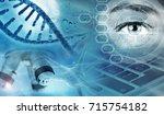 genetic analysis concept blue... | Shutterstock . vector #715754182