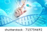 scientist finger pointing a... | Shutterstock . vector #715754692