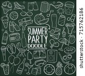 summer party beach doodle icon... | Shutterstock .eps vector #715762186