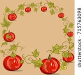 decorative frame with pumpkin... | Shutterstock .eps vector #715763098