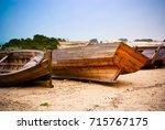 Fishing Wood Boats Beached...