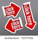 click here stickers set. | Shutterstock .eps vector #71577331