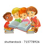 group of happy kids reading...