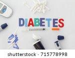 word diabetes with insulin...   Shutterstock . vector #715778998