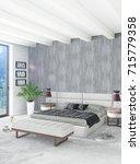 white bedroom minimal style... | Shutterstock . vector #715779358