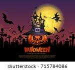 halloween pumpkins and dark... | Shutterstock .eps vector #715784086