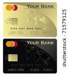 Credit Card Black Gold  Vector...