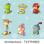 set of cartoon toys for... | Shutterstock .eps vector #715794802