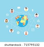 international teamwork   vector ... | Shutterstock .eps vector #715795132