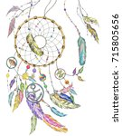 dream catcher wit colorful... | Shutterstock . vector #715805656