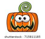scared square halloween pumpkin ... | Shutterstock .eps vector #715811185