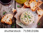 baked camembert with toasts and ... | Shutterstock . vector #715813186