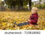 cute blond boy walks in autumn... | Shutterstock . vector #715818082