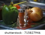 fresh hot chili peppers  large... | Shutterstock . vector #715827946