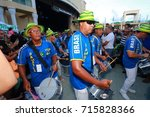 Small photo of SEPTEMBER 10 2016 - BRAZILIAN FESTIVAL - COUNT DE HOERNLE MIZNER PARK AMPITHEATER, BOCA RATON, FL A band in blue and white outfits marches and plays for the adoring crowd.