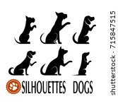 silhouettes of dogs set. | Shutterstock . vector #715847515