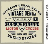 vintage composition motorcycle  ... | Shutterstock .eps vector #715859146