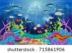 vector illustration with coral... | Shutterstock .eps vector #715861906