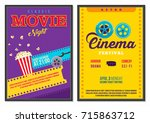 retro cinema poster vintage 70s ...   Shutterstock .eps vector #715863712