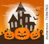 halloween orange night with a... | Shutterstock .eps vector #715867822