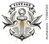 old school style swallow... | Shutterstock .eps vector #715869262