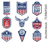 set of veterans day emblems.... | Shutterstock .eps vector #715869265