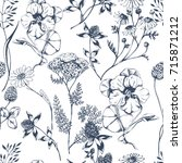 vector seamless floral pattern... | Shutterstock .eps vector #715871212