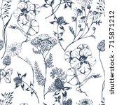 vector seamless floral pattern... | Shutterstock .eps vector #715871212