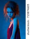 portrait of beautiful girl in... | Shutterstock . vector #715874605