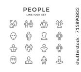 set line icons of people... | Shutterstock .eps vector #715890832