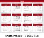 2011 calendar | Shutterstock .eps vector #71589418