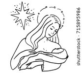 holy family and christmas star. ... | Shutterstock .eps vector #715895986